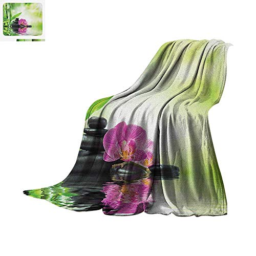 (Spa Throw Blanket Orchids and Rocks in The Mineral Rich Spring Water Spiritual Deep Treatment Cure Print Artwork Image 90