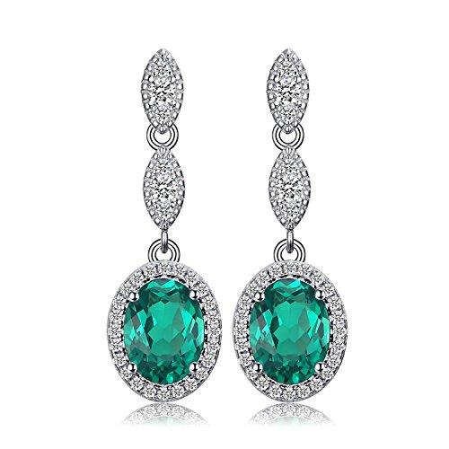 n 2.3ct Oval Green Nano Russian Simulated Emerald Drop Earrings 925 Sterling Silver (Tiffany Emerald Earrings)