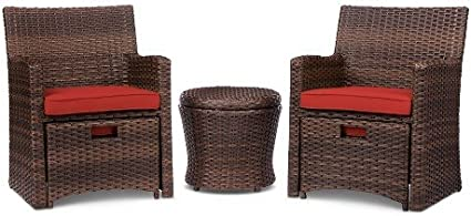 Amazon Com Halsted 5 Piece Wicker Small Space Patio Furniture Set Red Garden Outdoor