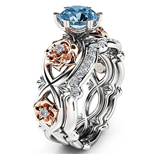 Rose Flower Ring Blue AAA Cubic Zircon Crystal Bank Rings for Women Size ()