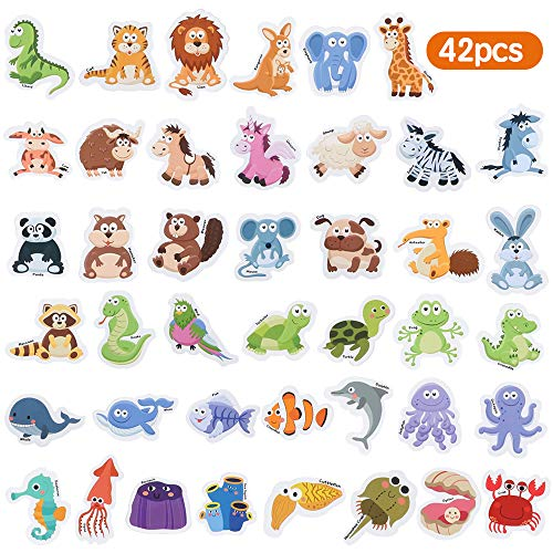 Baobë Fridge Magnets for Toddlers 42 PCS Foam Magnets Early Learning Educational Toy for 3 Year Old Boys Girls Kids (Animals)