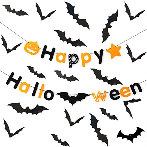 NKIPORU 28Pcs Halloween Party Supplies PVC 3D Decorative Scary Bats Wall Decal Wall Sticker + Happy Halloween Banner Halloween Decorations with Bat Pumpkin Element, 10 Feet (Happy Halloween Series 1) ()