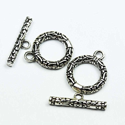 2 Sets Antique 925 Sterling Silver Jewellery findings Toggle Clasp, 12mm Circle w/3mm Closed Jump Ring, Tbar 16mm Long, Hole2mm - FDSSCS0042