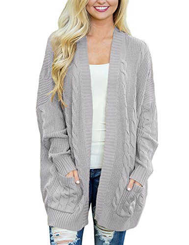 GRAPENT Women's Grey Casual Long Sleeve Open Front Cable Knit Texture Cardigan Sweater Coat With Pockets Size L (US - Cardigan Open Cable Sweater