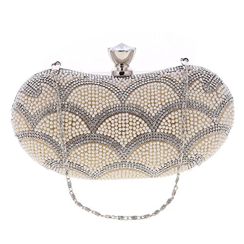 Clutch Fashion Silver Minaudiere Evening Damara Minaudiere Bag Fashion Women's Crystal Damara Crystal Women's ZwHtxqv