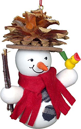 (Alexander Taron Importer 10-0201 Christian Ulbricht Ornament - Snowman Wearing Pinecone Hat - 3.5