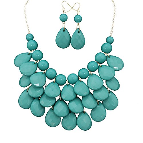 Africanbeads Layered Dangling Bubble Necklace Earring Set, Women Bib Statement Jewelry Set
