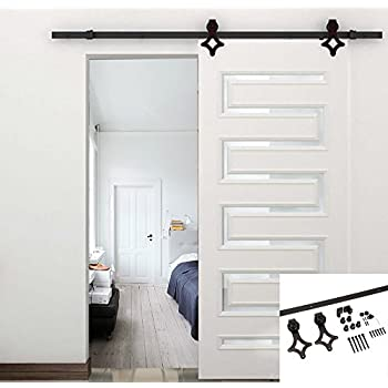Unionline American 66 Ft Sliding Wood Barn Door Hardware Track Kit Steel Rhombic Diamond Style