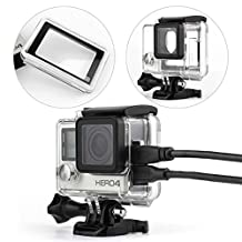 Agemore® Skeleton Protective Housing case Side Open compatible with GoPro Hero 4 Hero 3+ cameras With Bacpac Touched Panel LCD Screen Protective housing backdoor and lens