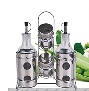 Europe Ware JA 5184 Oil and Vinegar Cruet Set with Two Tier Salt and Pepper Holder, Clear