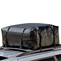 Waterproof Soft Roof Top Cargo Bag (15 Cubic Feet) with Straps, Protective Mat and Storage Bag- BOOCOSA