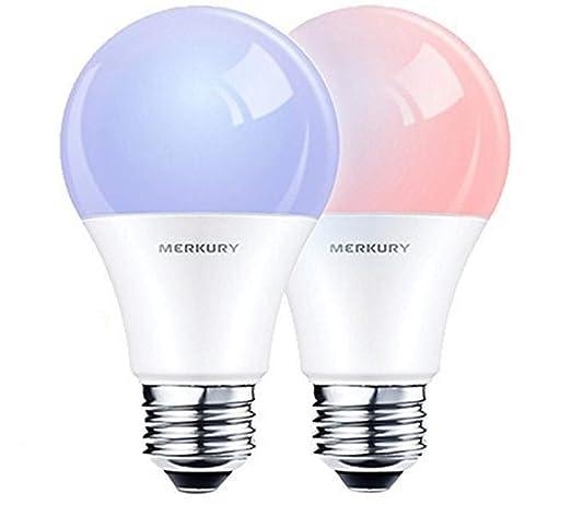 Merkury innovaciones Smart Wi-Fi LED de color bombillas 2 unidades Compatible w/Alexa