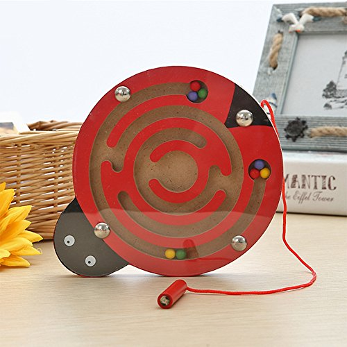 Leoie Baby Small Pen Labyrinth Puzzle Toy Cartoon Animal Magnetic Maze Toy Intellectual Development Games Educational Block Ladybug