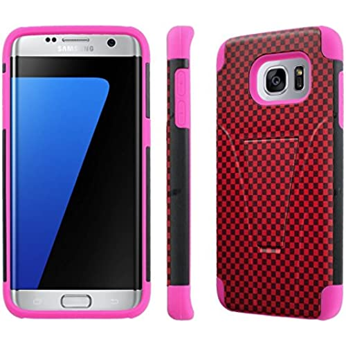 Samsung Galaxy S7 Edge / GS7 Edge [5.5 Screen]Case, [NakedShield] [Black/ Hot Pink] Armor Tough Shock Proof Kickstand Case - [Red Black Sales