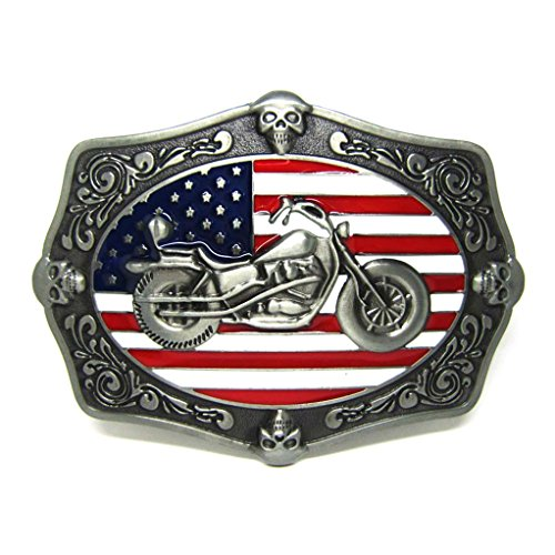 MASOP Motorcycle Skull Decoration American Flag Belt Buckle Antique (Multi Buckle Belt)