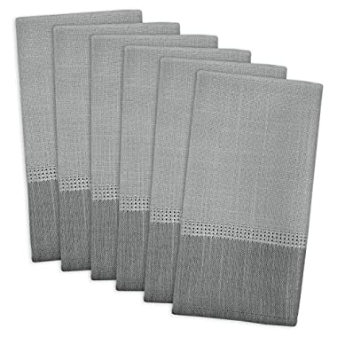 DII 100% Polyester, Machine Washable, Tonal Bordered Fabric Napkins, 17 X 17 , Gray, Set of 6