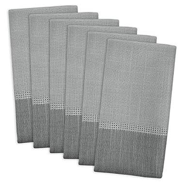 DII 100% Polyester, Machine Washable, Tonal Bordered Fabric Napkins, 17 X 17 , Gray, Set of 6
