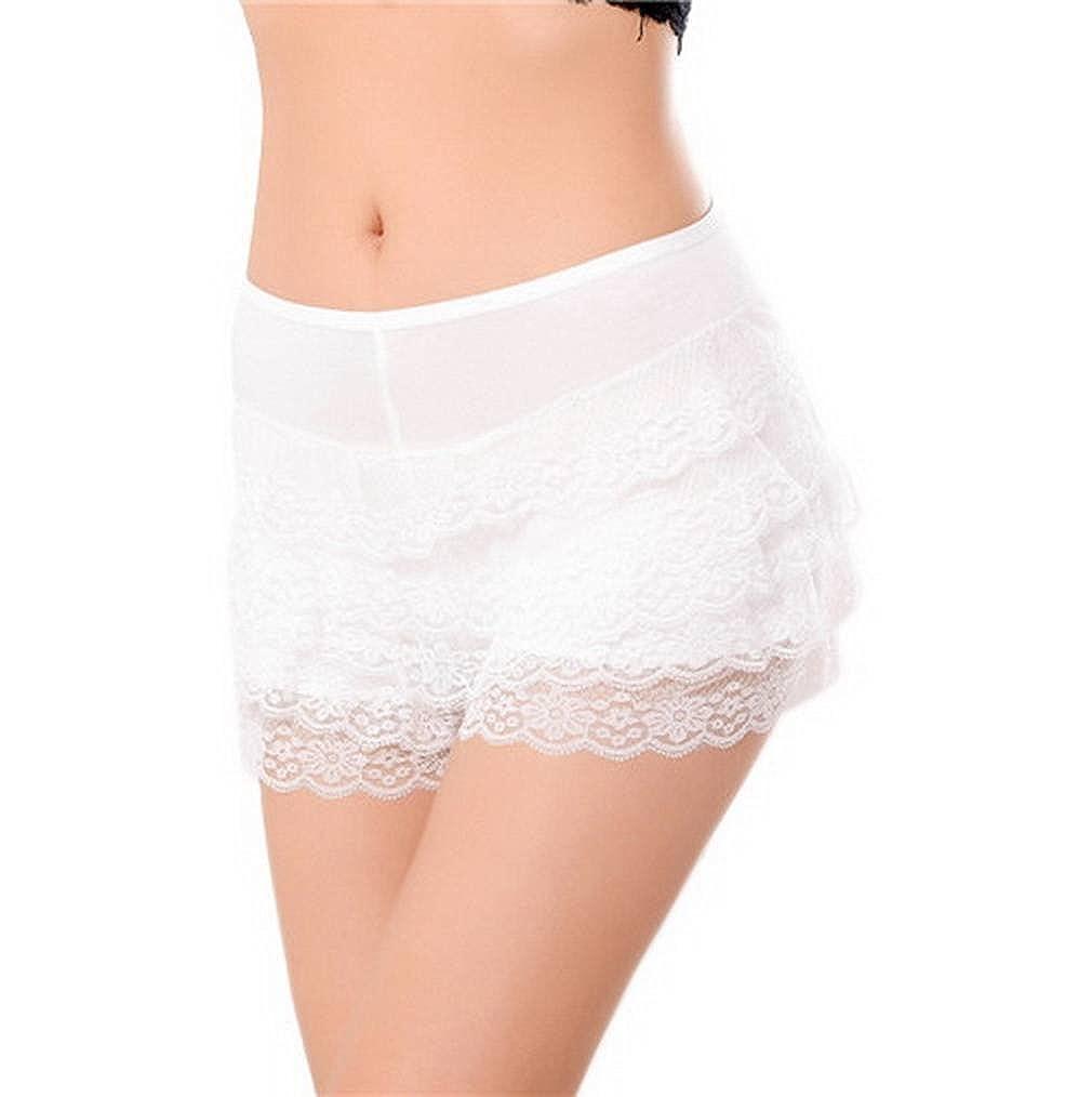 COMVIP Womens Lace Shorts Ruffle Underwear Hot Pants Safety Shorts