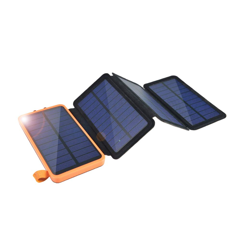 Solar Charger 12000mAh,EREMOKI Outdoor Portable Power Bank with 4 Solar Panels,Fast Charge External Battery Pack with Dual 2.1A Output USB Compatible with Smartphones,Tablets,etc.(Waterproof) (Yellow) by EREMOKI