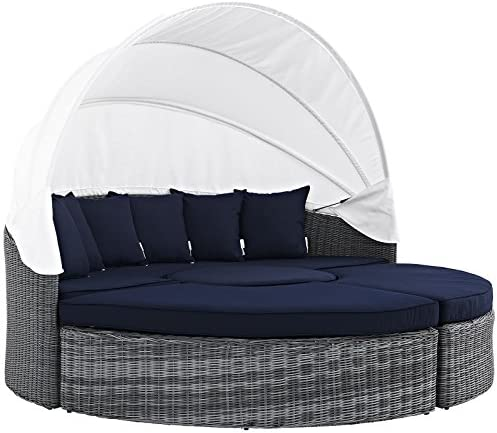 Modway Summon Outdoor Patio Daybed with Canopy and Sunbrella Cushions in Canvas Navy