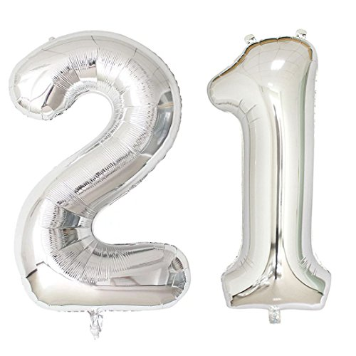 "40inch Silver Foil 21 Helium Jumbo Digital Number Balloons, 21st Birthday Decoration for Girls or Boys, 21 Year Old Birthday Party Supplies (Number""21"")"
