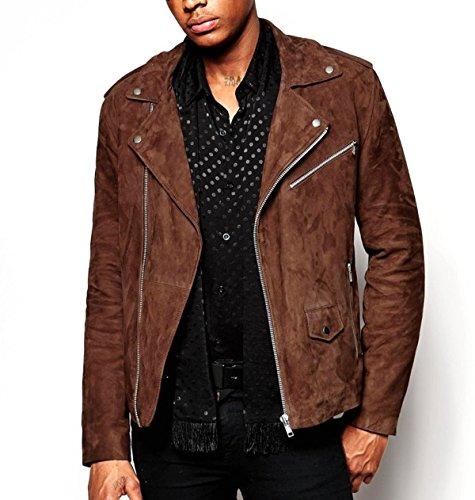 World Of Leather Short Lambskin Suede Leather Jacket Biker Moto (L)