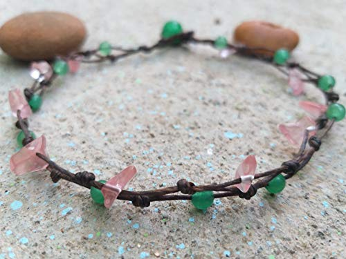 Anklets,Cherry Quartz stone anklets,Green jade stone anklets,It is fashionable for both - Jade Anklet