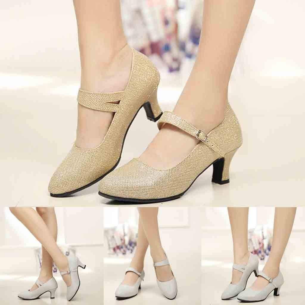 Chaussure de Danse Sociale Manadlian Chaussures /à Haut Talon de 5cm Sandales /Ét/é Mariage Soir/ée F/ête Souliers Pointus Chaussons