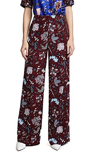 Diane von Furstenberg Women's Wide Leg Pants, Canton Bordeaux, - Red Furstenberg Diane Von Dress