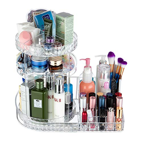 Crystal Clear Cosmetics - OBOR Large Capacity Cosmetic Organizer - Makeup Storage 360 Degree Rotaiton Adjustable Cosmetics Makeup Brushes Lipsticks Perfumes Clear Display Box for Dressing Table, Bedroom, Bathroom