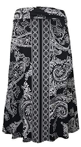 LEEBE Women's Plus Size Printed Maxi Skirt (1X-5X) (3X (22-24), Black Paisley)