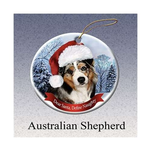 Pet Gifts USA Australian Shepherd Dog Santa Hat Christmas Ornament  Porcelain China U.s.a. Gift - Australian Shepherd Christmas Ornament: Amazon.com