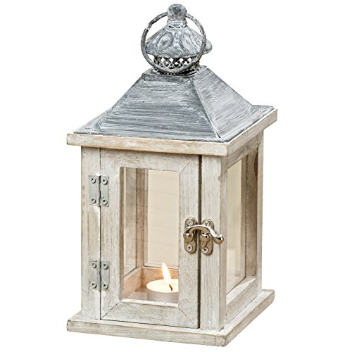 Whole House Worlds The Farmer's Market Wooden Candle Lantern Hurricane, Rustic Dark Metal Roof, Weathered White Stained Fir, 10 Inches Tall By -