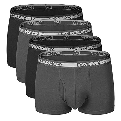 - David Archy Men's 4 Pack Cotton Underwear Ultra Soft Trunks with Fly (M, Black+Dark Gray)