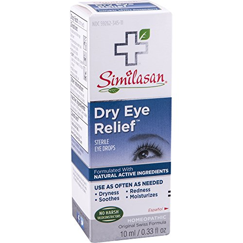 Similasan Dry Eye Relief Eye Drops 0.33 Ounce Bottle, for Temporary Relief from Dry or Red Eyes, Itchy Eyes, Burning Eyes, and Watery Eyes
