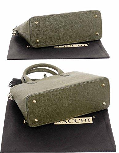 una Tote borsetta Verde Primo in pelle di o protettiva texture a italiana tracolla borsa Include Oliva custodia marca stile bowling Grab Sacchi mano xazvqxCSw