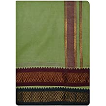 JISB Cotton Panjagajam Green color Dhoti For Men (Size:9x5)