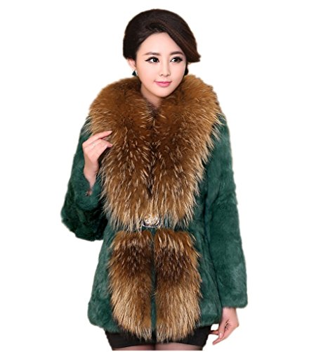 YR Lover Women's Winter Warm Real Rabbit Fur Coat With for sale  Delivered anywhere in Canada