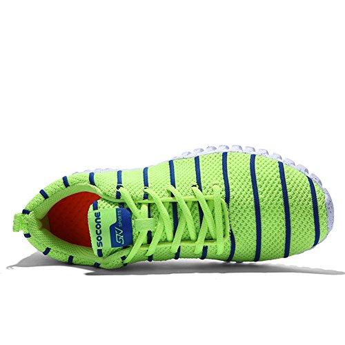 Jedvoo Lightweight Sport Running Shoes,Zapatillas de Running Unisex adulto Deporte y Aire Libre de Malla Transpirables Verde