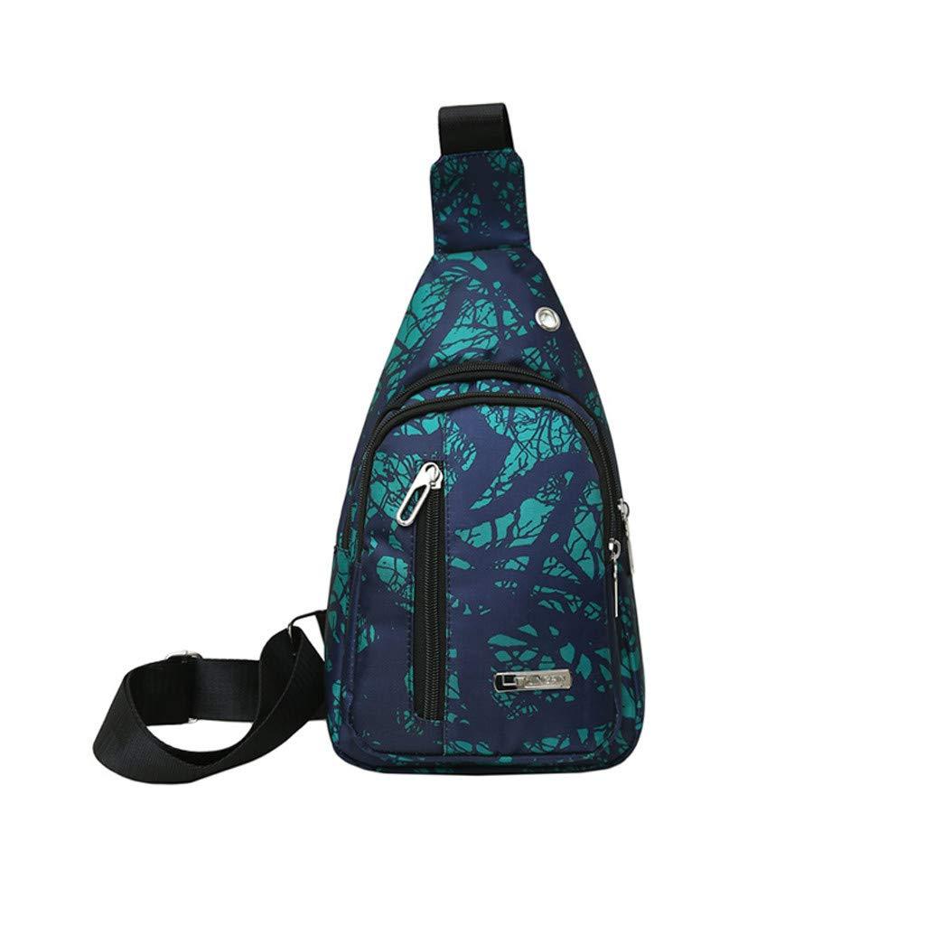 SARA NELL Messenger Bag,green Pattern,Unisex Shoulder Backpack Cross-body Sling Bag