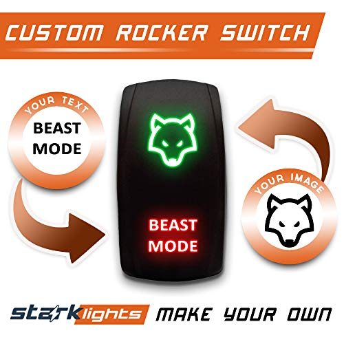 CUSTOM ROCKER SWITCH - DESIGN YOUR OWN - STARK 5-PIN Laser Etched LED Rocker Switch Dual Light - 20A 12V ON/OFF (Green/Red)