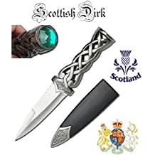 Thor's Hammer Twisted Steel Celtic Sgian Dubh Scottish Dirk Wedding Athame Dagger with Green Ruby, 9-inch