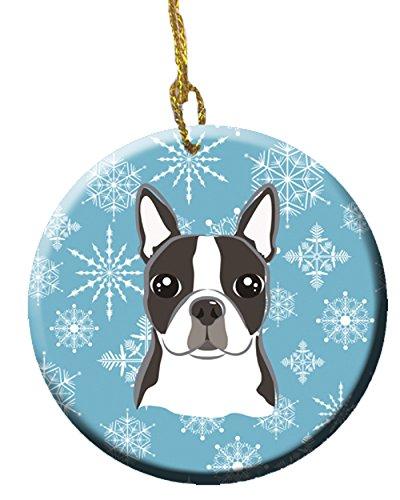 Caroline's Treasures BB1637CO1 Snowflake Boston Terrier Ceramic Ornament, Multicolor