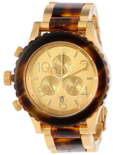 Nixon A0371424 42-20 Chrono Gold Dial Molasses Gold Steel Band Men Watch NEW