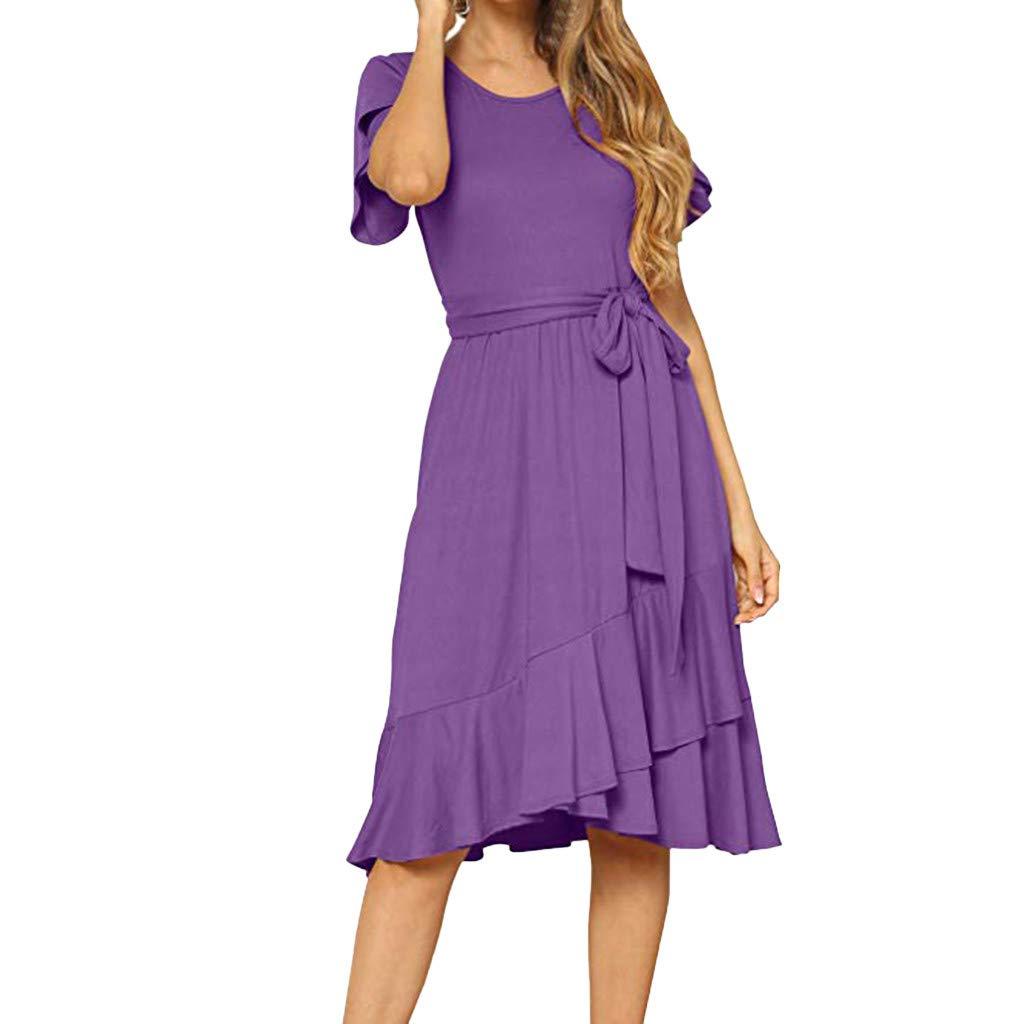 Sttech1 Women's Summer Plain Dress Casual Solid O-Neck Flowy Short Sleeve Midi Dress with Belt Dress Purple