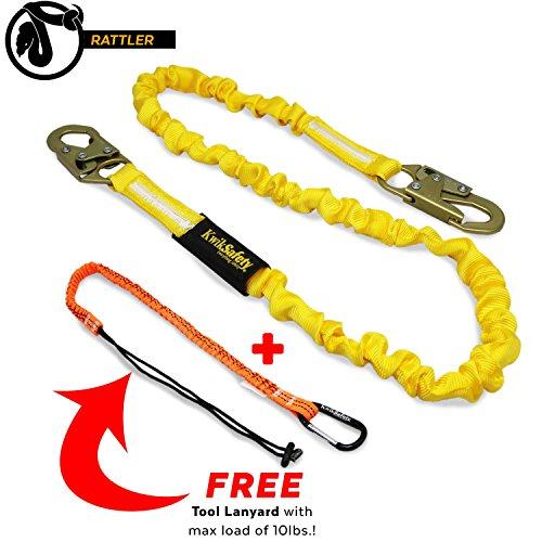 KwikSafety RATTLER | 6ft Tubular Safety Lanyard & FREE Tool Lanyard | ANSI Z359.13-2013 Compliant INTERNAL Shock Absorbing Lanyard & Snap Hooks | Tool Lanyard 10lbs Max | Fall Protection Equipment