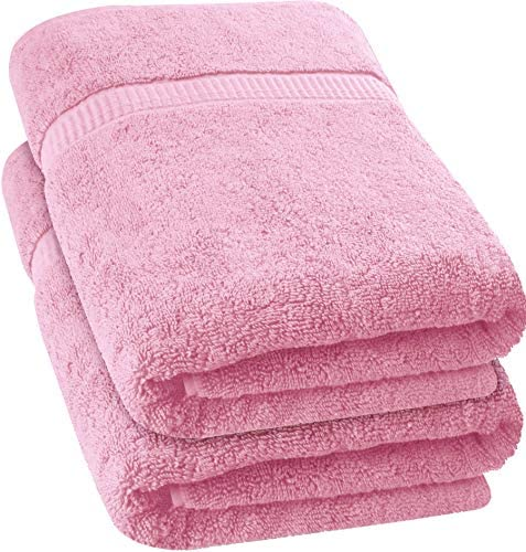Utopia Towels - Luxurious Jumbo Bath Sheet (35 x 70 Inches, Pink) - 600 GSM 100% Ring Spun Cotton Highly Absorbent and Quick Dry Extra Large Bath Towel - Super Soft Hotel Quality Towel (2-Pack)