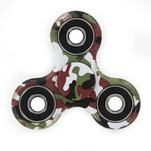 Army Camouflage Tri-Spinner Hand Spinner Fidget Desk ADHD Relieve Stress Toy (Brown Green)