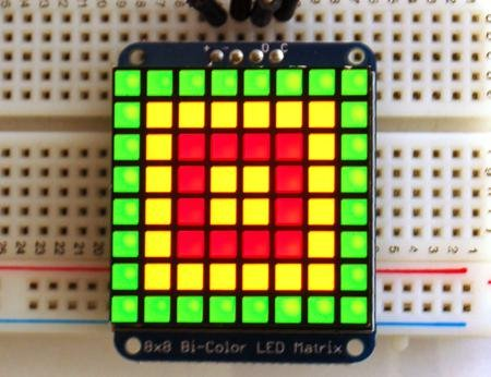 "1.2"" 8X8 Red/Green Bi-Color Led Matrix With I2C Backpack"