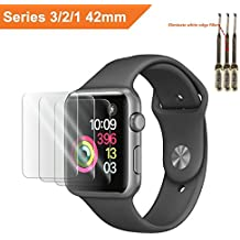 For Apple Watch Screen Protector 42mm, For Apple Watch Tempered Glass Screen Protector, Anti-Scratch Scratch Resistant Scratch-proof Screen Film for Apple iWatch 42mm Series 1/2/3 (3Pack)